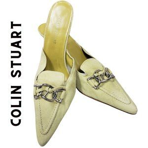 COLIN STUART Green Kitten Heel Suede Buckle Slides